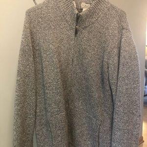 LL Bean full zip flannel lined wool sweater 2XT